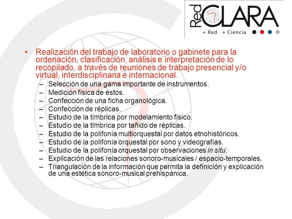 Realización del trabajo de laboratorio o gabinete para la ordenación, clasificación, análisis e interpretación de lo recopilado, a través de reuniones de trabajo presencial y/o virtual, interdisciplinaria e internacional.