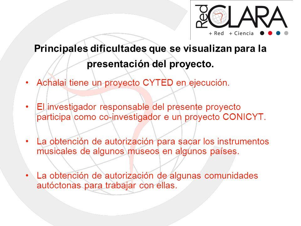Principales dificultades que se visualizan para la presentación del proyecto.