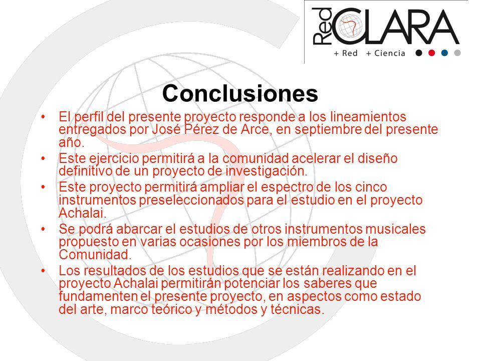 Conclusiones El perfil del presente proyecto responde a los lineamientos entregados por José Pérez de Arce, en septiembre del presente año.