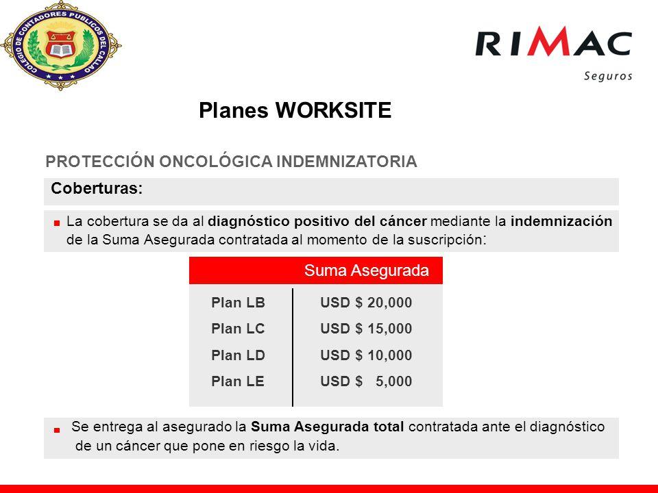 Planes WORKSITE PROTECCIÓN ONCOLÓGICA INDEMNIZATORIA Coberturas: