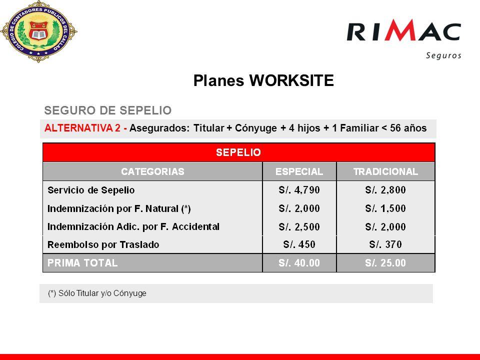 Planes WORKSITE SEGURO DE SEPELIO
