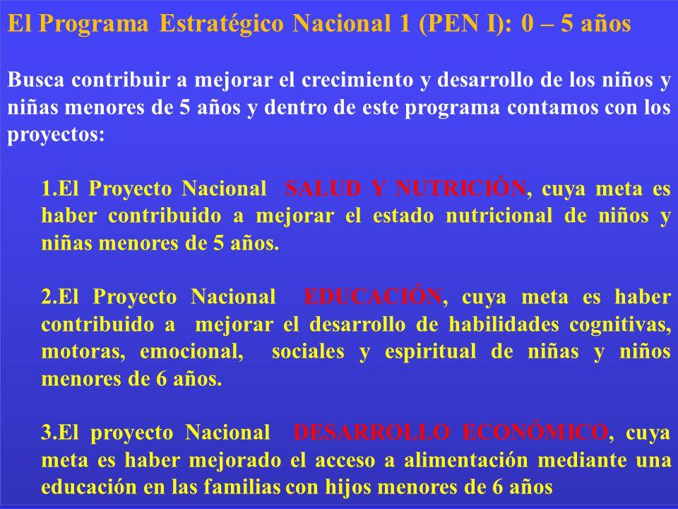 El Programa Estratégico Nacional 1 (PEN I): 0 – 5 años