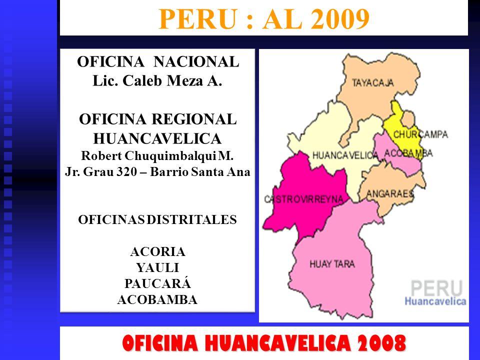 PERU : AL 2009 OFICINA HUANCAVELICA 2008 OFICINA NACIONAL