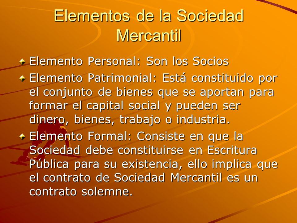 Elementos de la Sociedad Mercantil