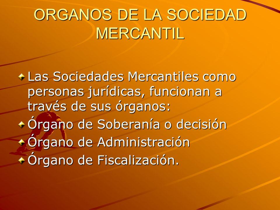 ORGANOS DE LA SOCIEDAD MERCANTIL