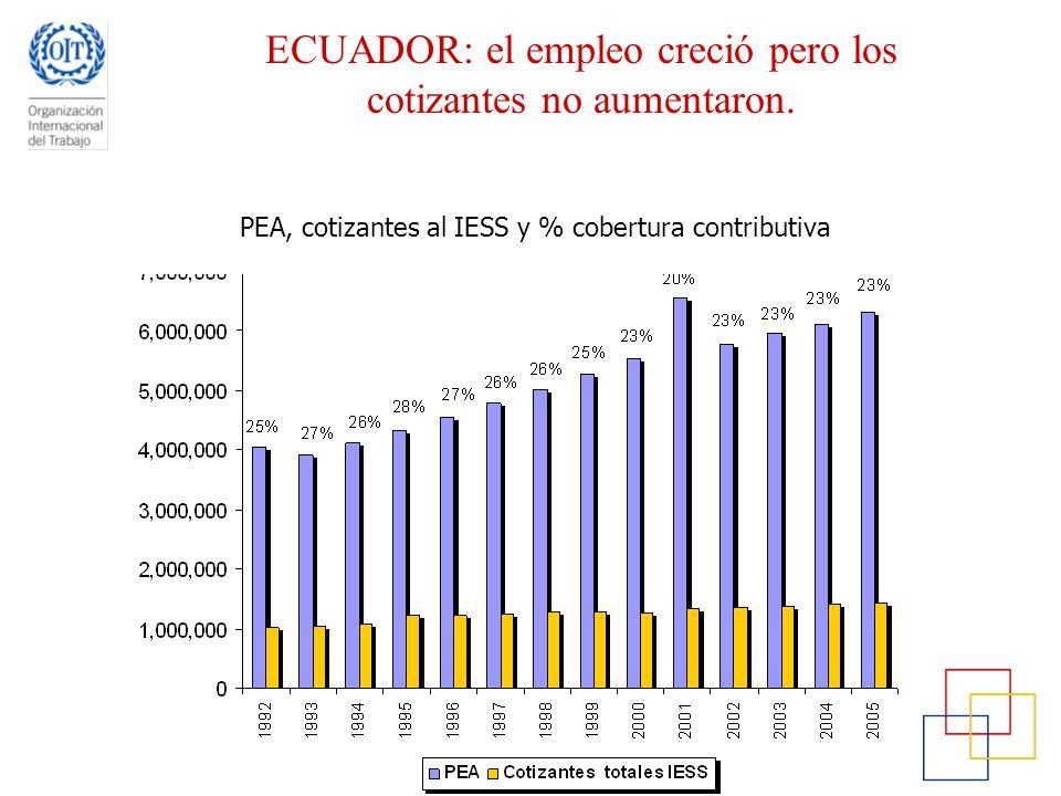 ECUADOR: el empleo creció pero los cotizantes no aumentaron.