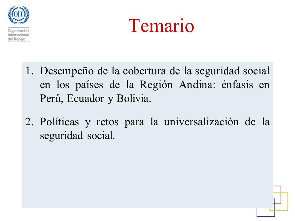 Temario Desempeño de la cobertura de la seguridad social en los países de la Región Andina: énfasis en Perú, Ecuador y Bolivia.