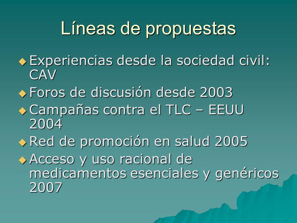 Líneas de propuestas Experiencias desde la sociedad civil: CAV