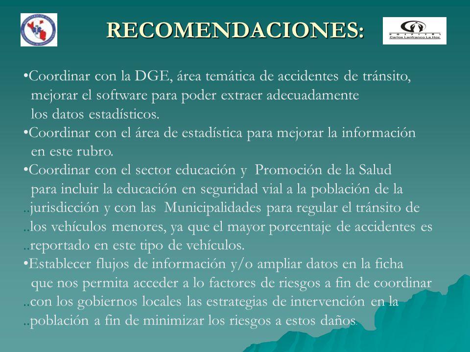 RECOMENDACIONES: Coordinar con la DGE, área temática de accidentes de tránsito, mejorar el software para poder extraer adecuadamente.
