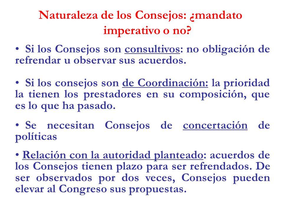 Naturaleza de los Consejos: ¿mandato imperativo o no