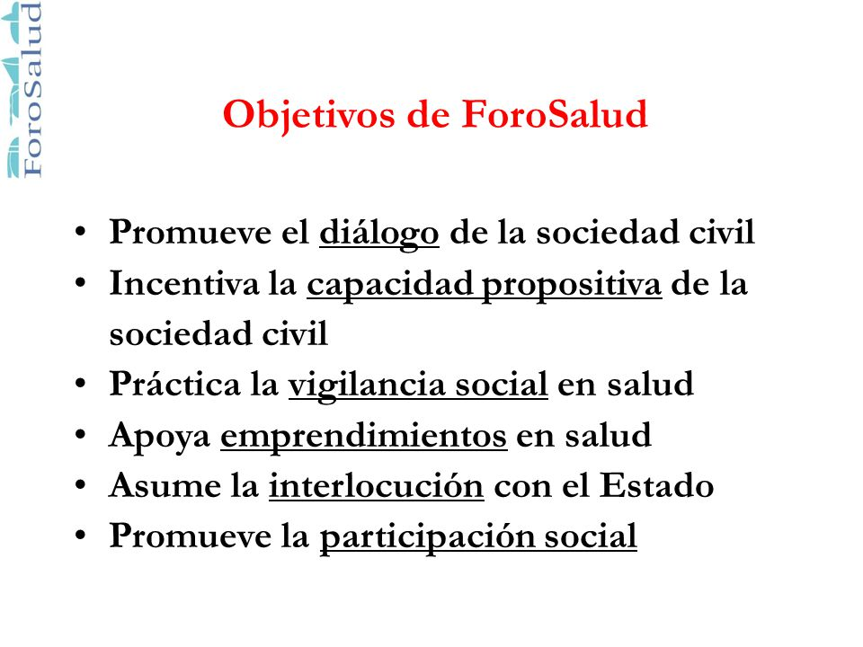Objetivos de ForoSalud