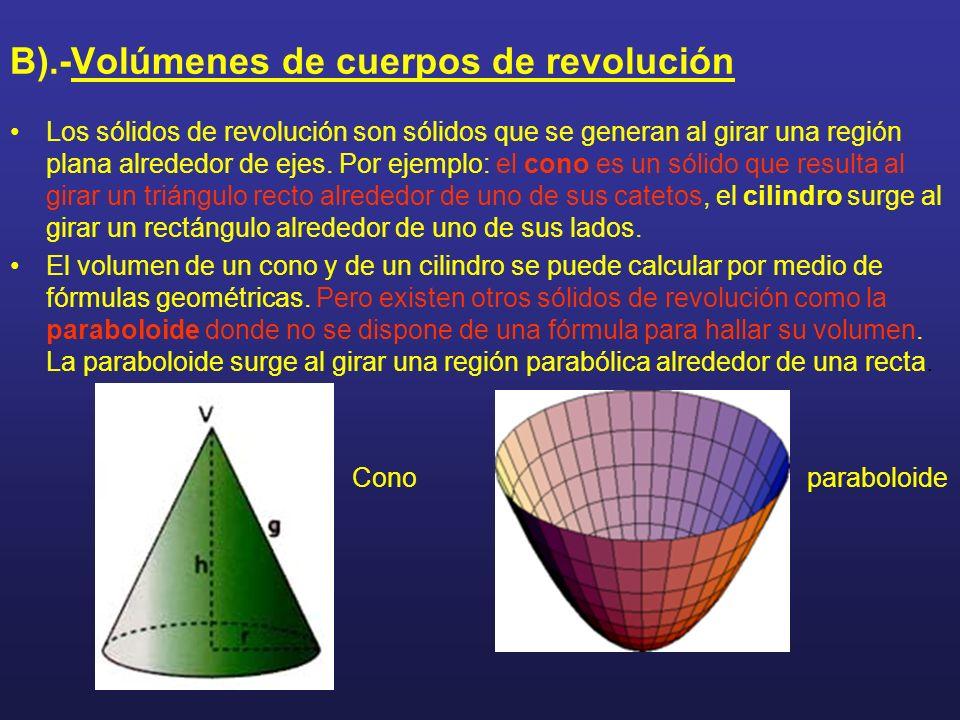 B).-Volúmenes de cuerpos de revolución