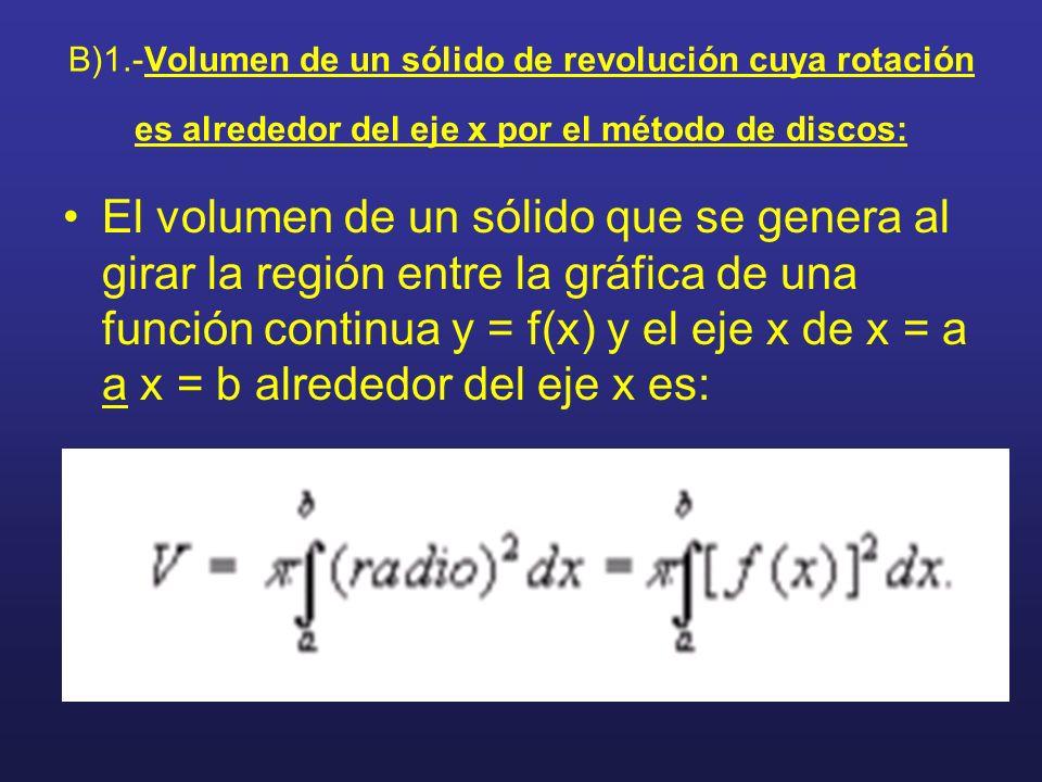 B)1.-Volumen de un sólido de revolución cuya rotación es alrededor del eje x por el método de discos: