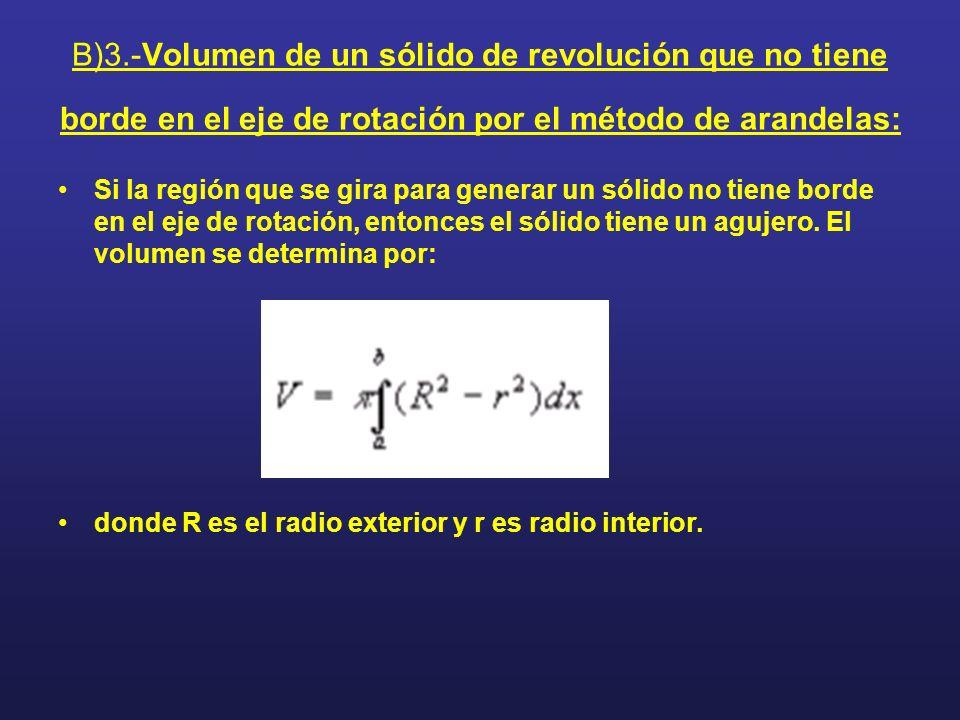 B)3.-Volumen de un sólido de revolución que no tiene borde en el eje de rotación por el método de arandelas: