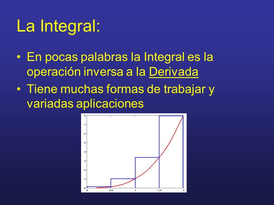 La Integral: En pocas palabras la Integral es la operación inversa a la Derivada.