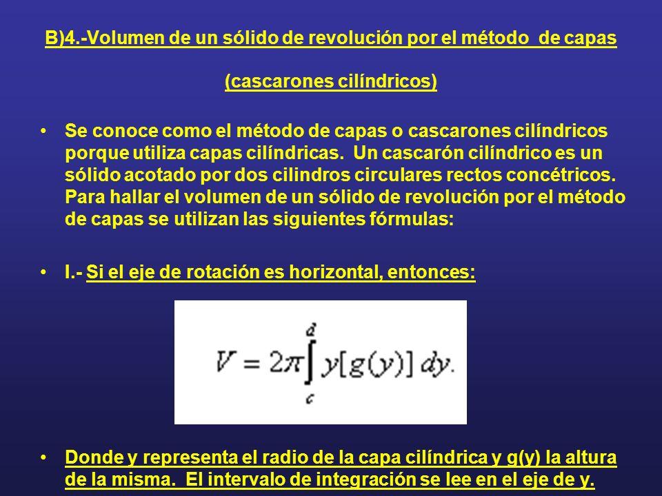 B)4.-Volumen de un sólido de revolución por el método de capas (cascarones cilíndricos)