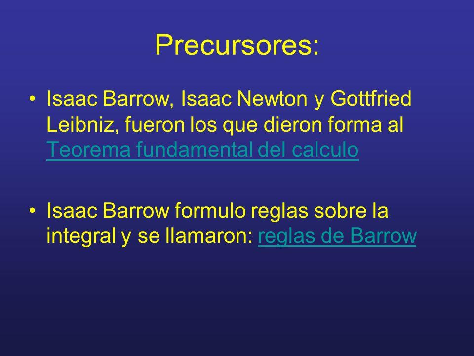 Precursores:Isaac Barrow, Isaac Newton y Gottfried Leibniz, fueron los que dieron forma al Teorema fundamental del calculo.