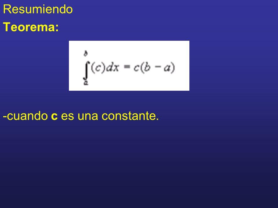 Resumiendo Teorema: -cuando c es una constante.