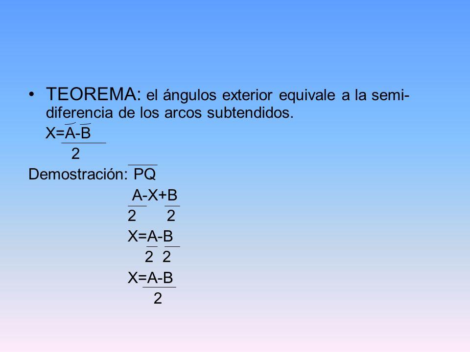 TEOREMA: el ángulos exterior equivale a la semi-diferencia de los arcos subtendidos.