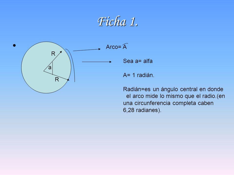 Ficha 1. Arco= A R a Sea a= alfa A= 1 radián.