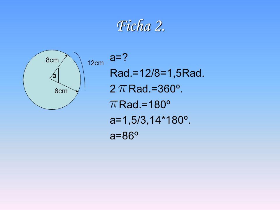 Ficha 2. a= Rad.=12/8=1,5Rad. Rad.=360º. Rad.=180º a=1,5/3,14*180º.