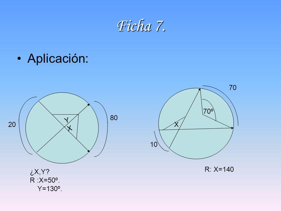 Ficha 7. Aplicación: 70 70º 80 Y X 20 X 10 R: X=140 ¿X,Y R :X=50º.