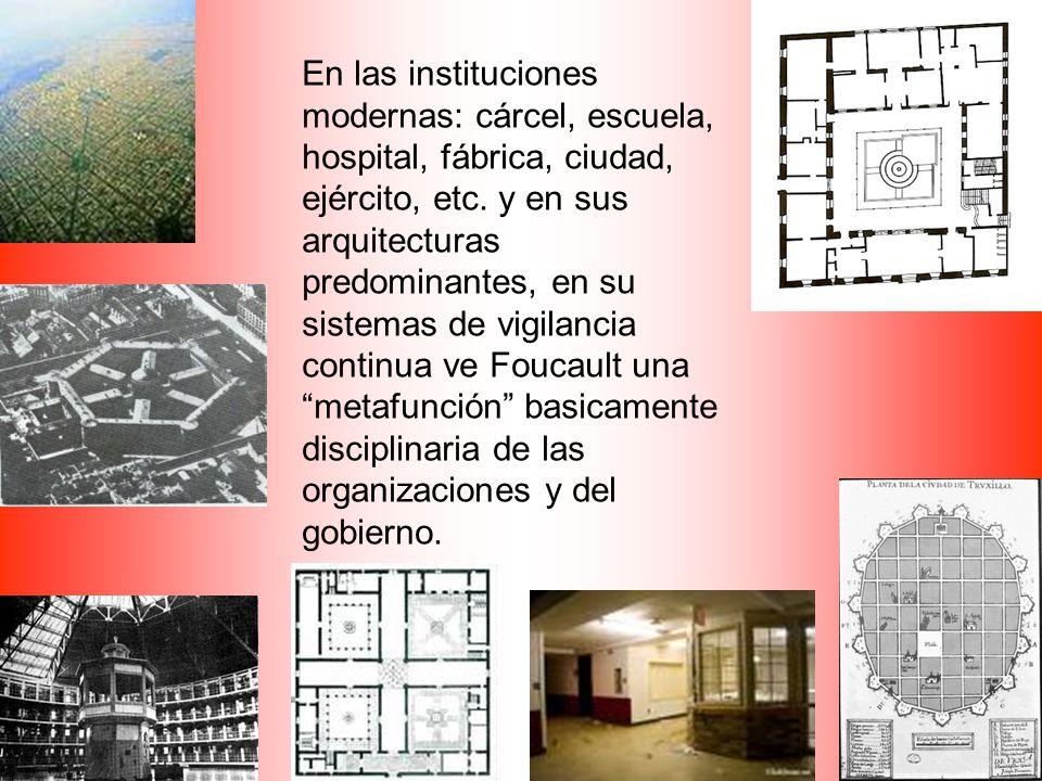 En las instituciones modernas: cárcel, escuela, hospital, fábrica, ciudad, ejército, etc.