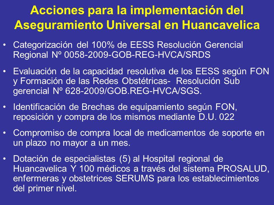 Acciones para la implementación del Aseguramiento Universal en Huancavelica