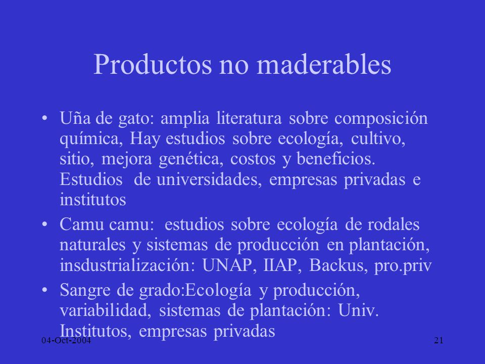 Productos no maderables