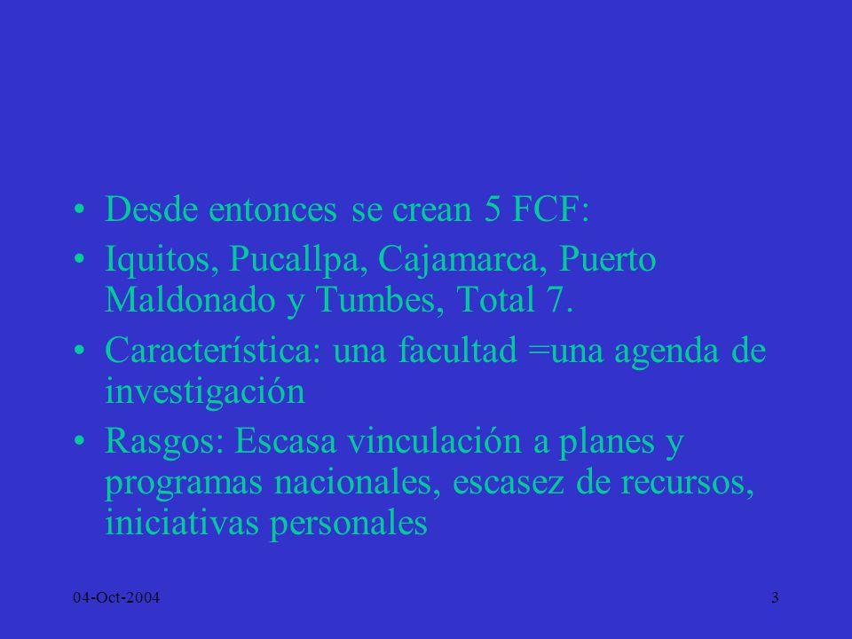Desde entonces se crean 5 FCF: