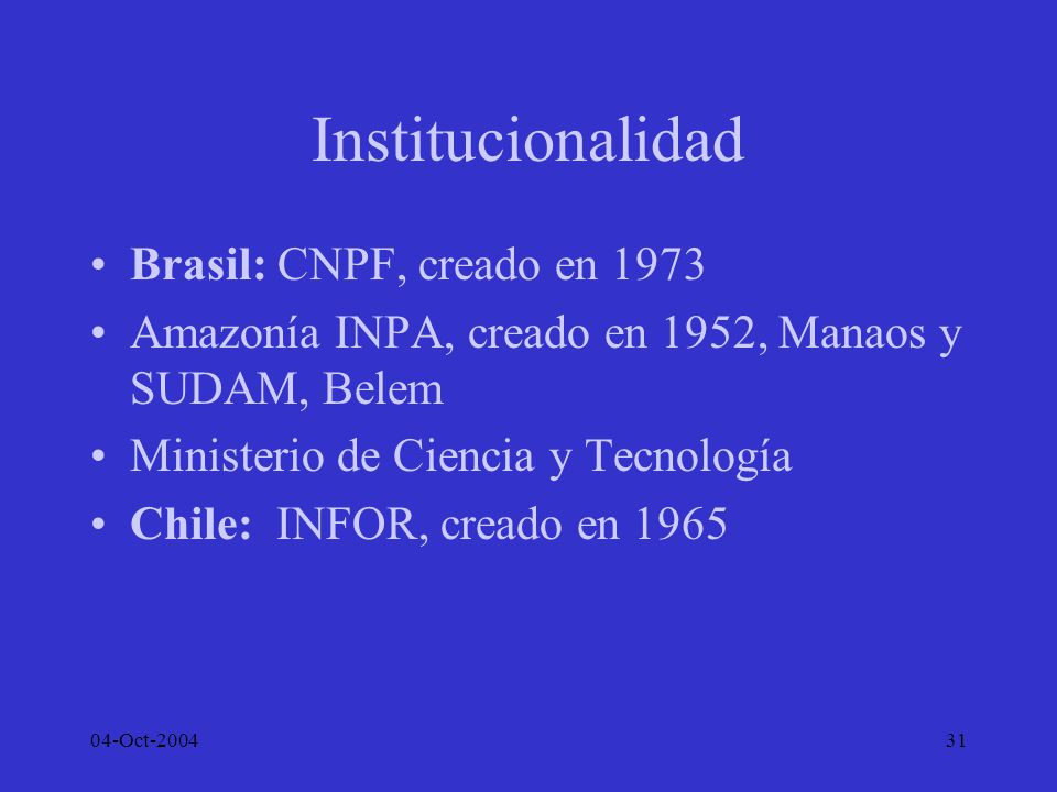Institucionalidad Brasil: CNPF, creado en 1973