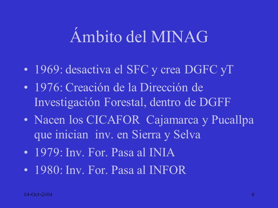 Ámbito del MINAG 1969: desactiva el SFC y crea DGFC yT