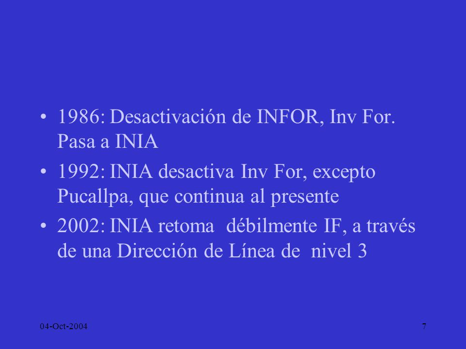 1986: Desactivación de INFOR, Inv For. Pasa a INIA