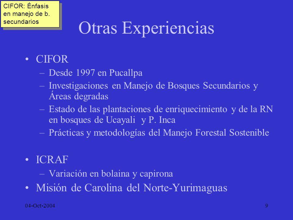 Otras Experiencias CIFOR ICRAF Misión de Carolina del Norte-Yurimaguas