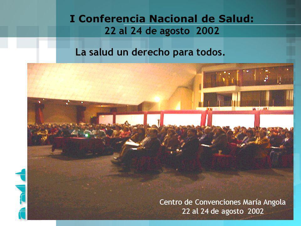I Conferencia Nacional de Salud: 22 al 24 de agosto 2002