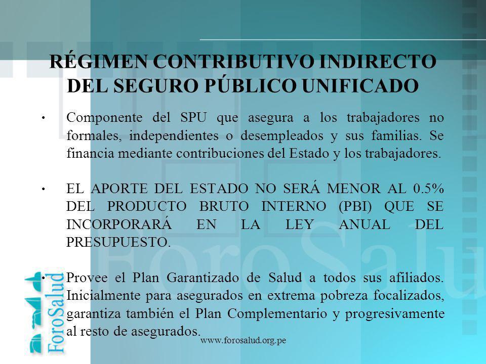 RÉGIMEN CONTRIBUTIVO INDIRECTO DEL SEGURO PÚBLICO UNIFICADO
