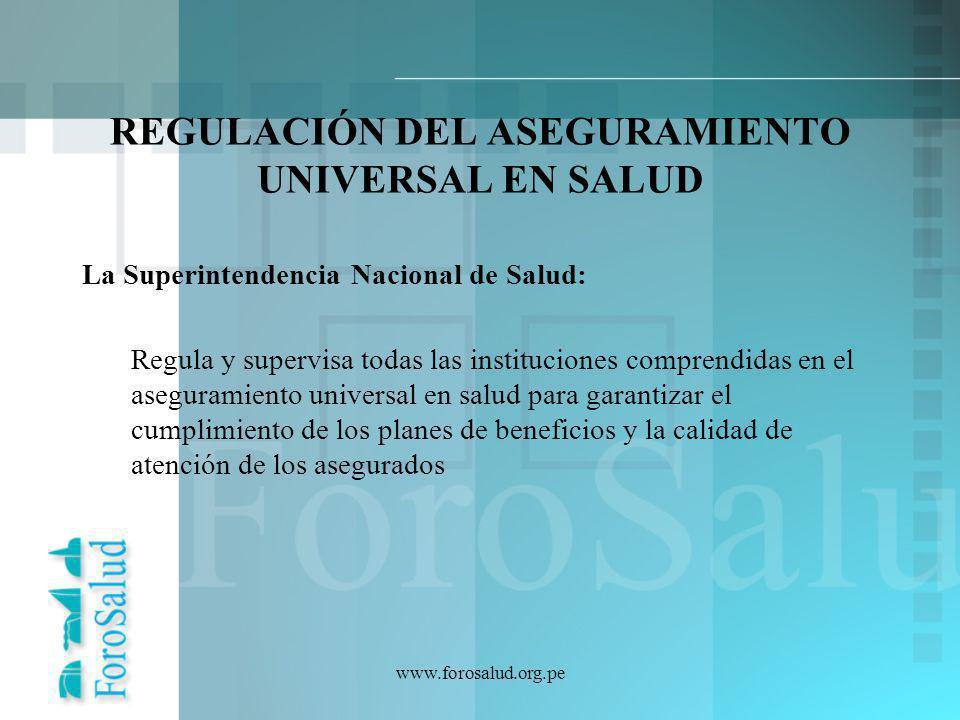 REGULACIÓN DEL ASEGURAMIENTO UNIVERSAL EN SALUD