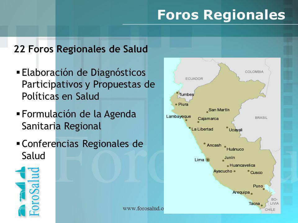 Foros Regionales 22 Foros Regionales de Salud