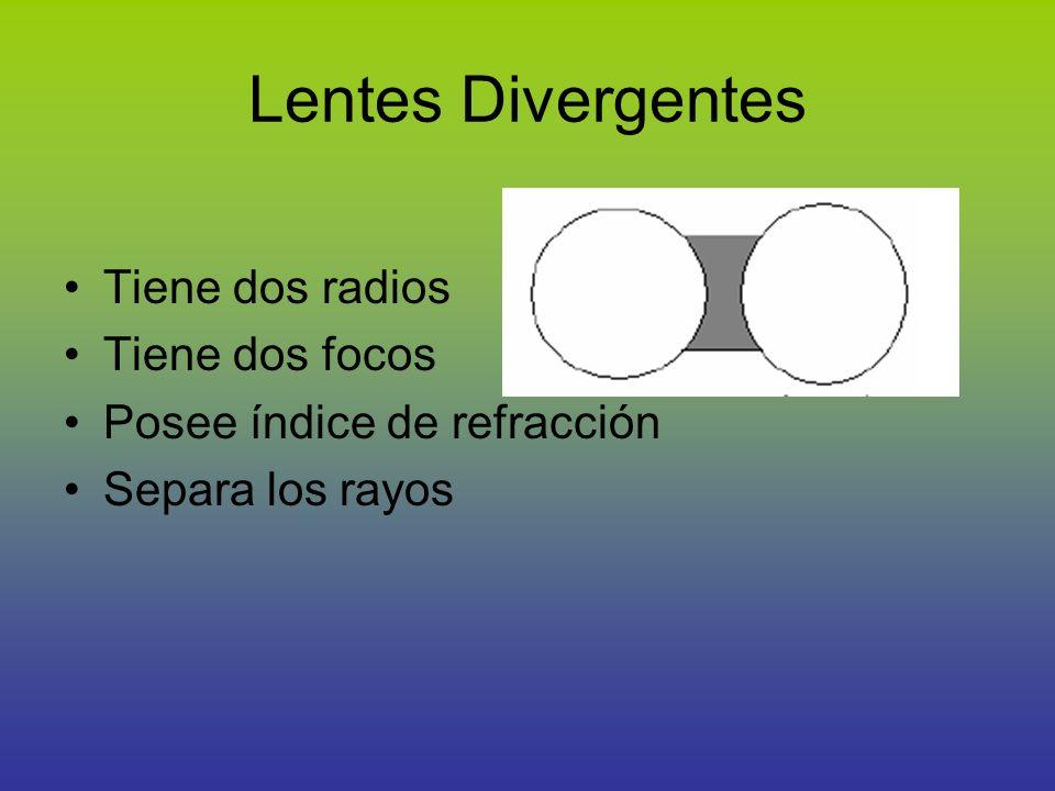 Lentes Divergentes Tiene dos radios Tiene dos focos