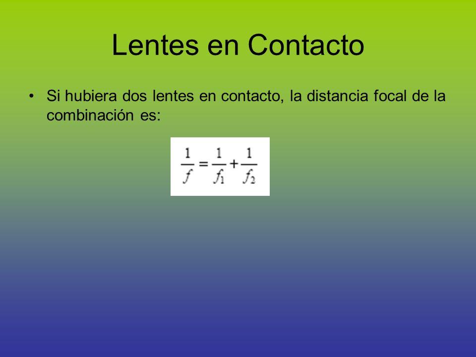 Lentes en Contacto Si hubiera dos lentes en contacto, la distancia focal de la combinación es: