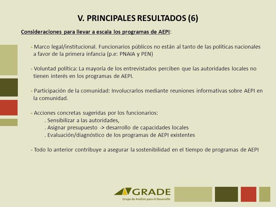 V. PRINCIPALES RESULTADOS (6)