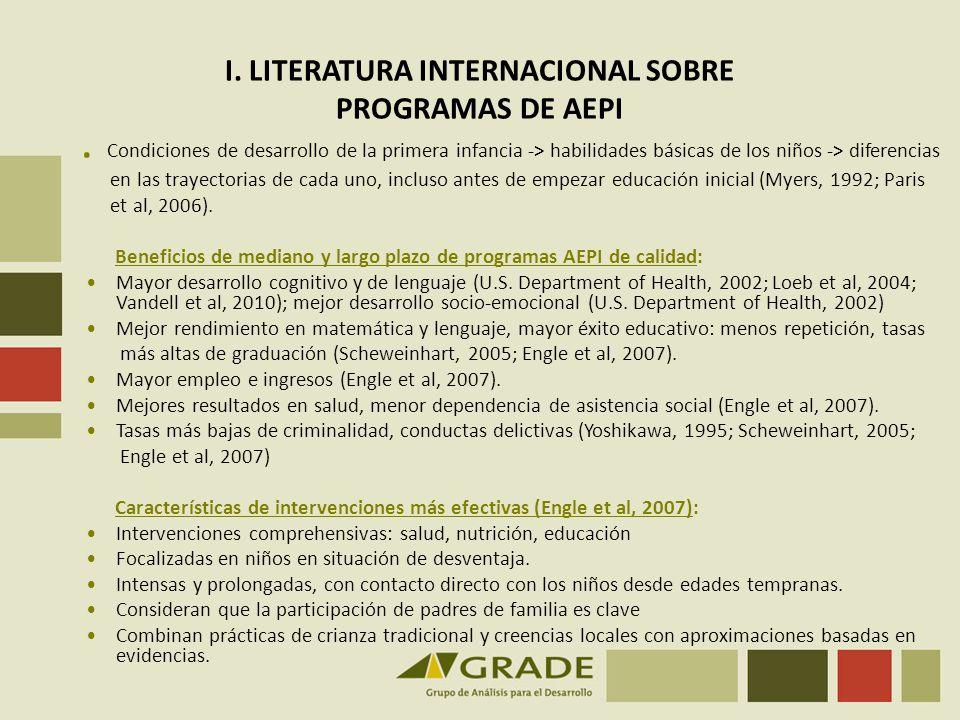 I. LITERATURA INTERNACIONAL SOBRE PROGRAMAS DE AEPI