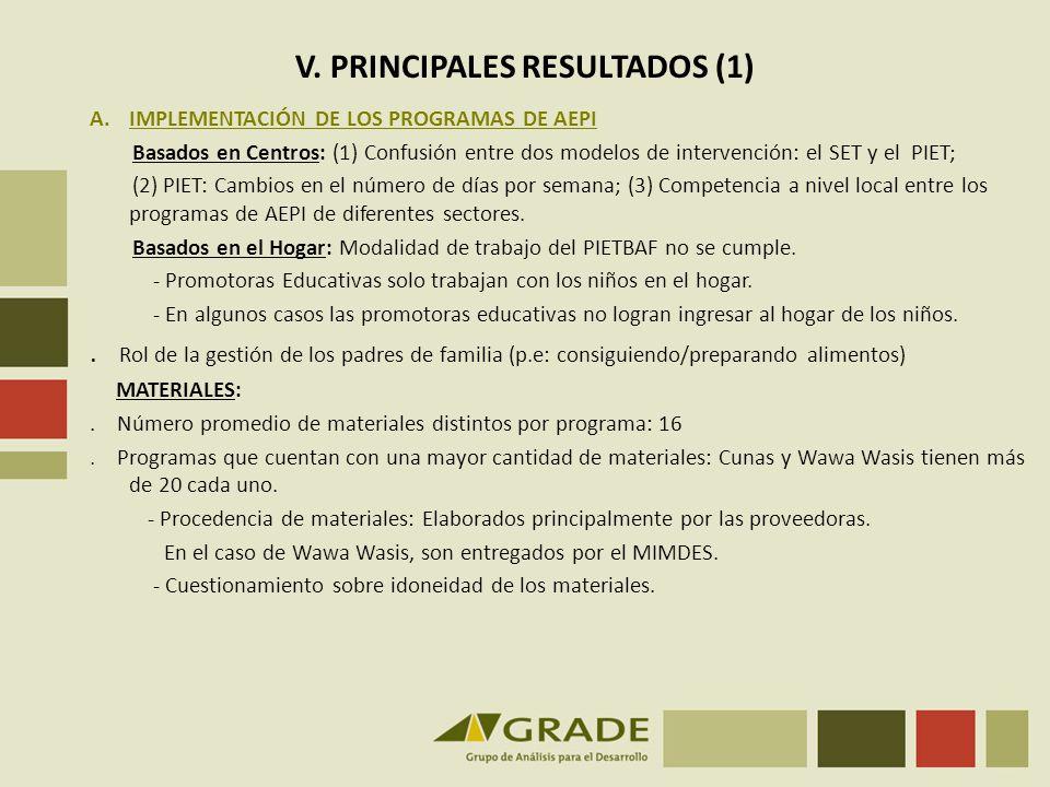 V. PRINCIPALES RESULTADOS (1)
