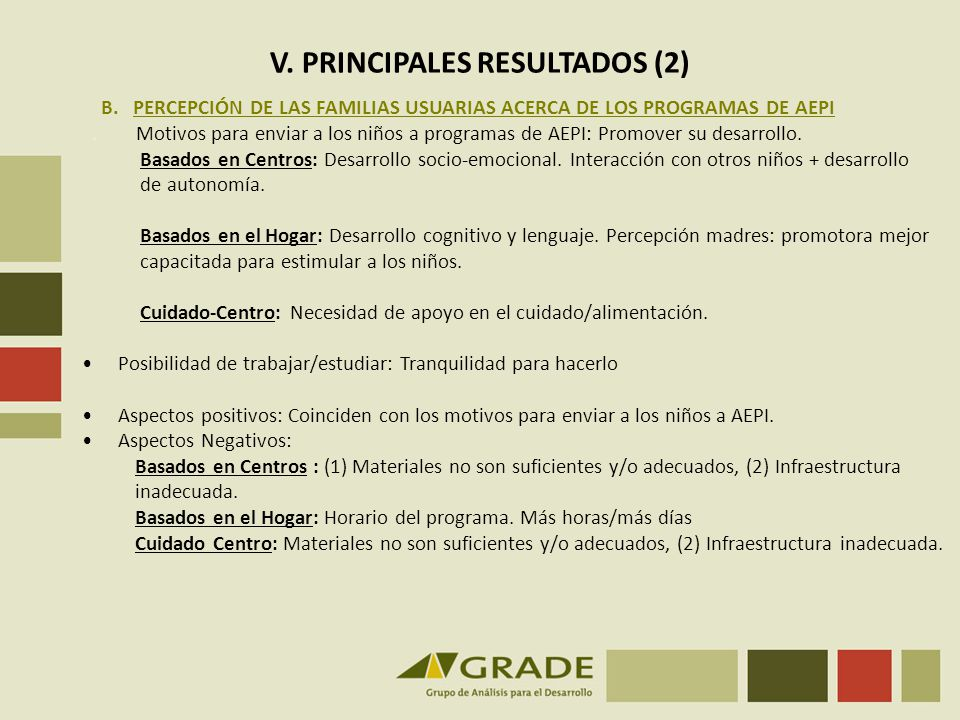 V. PRINCIPALES RESULTADOS (2)