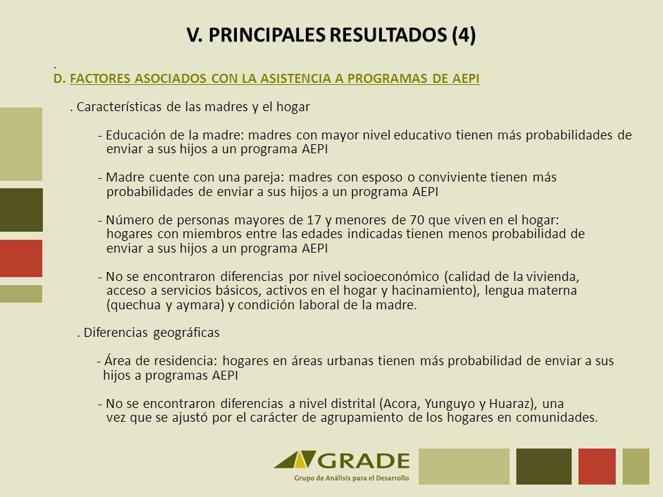 V. PRINCIPALES RESULTADOS (4)