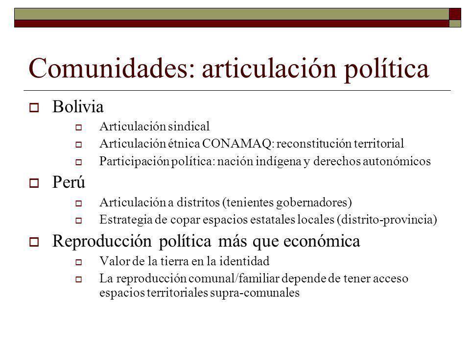 Comunidades: articulación política