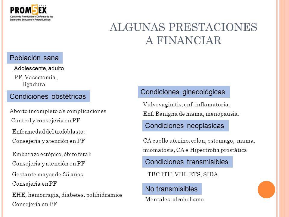 ALGUNAS PRESTACIONES A FINANCIAR