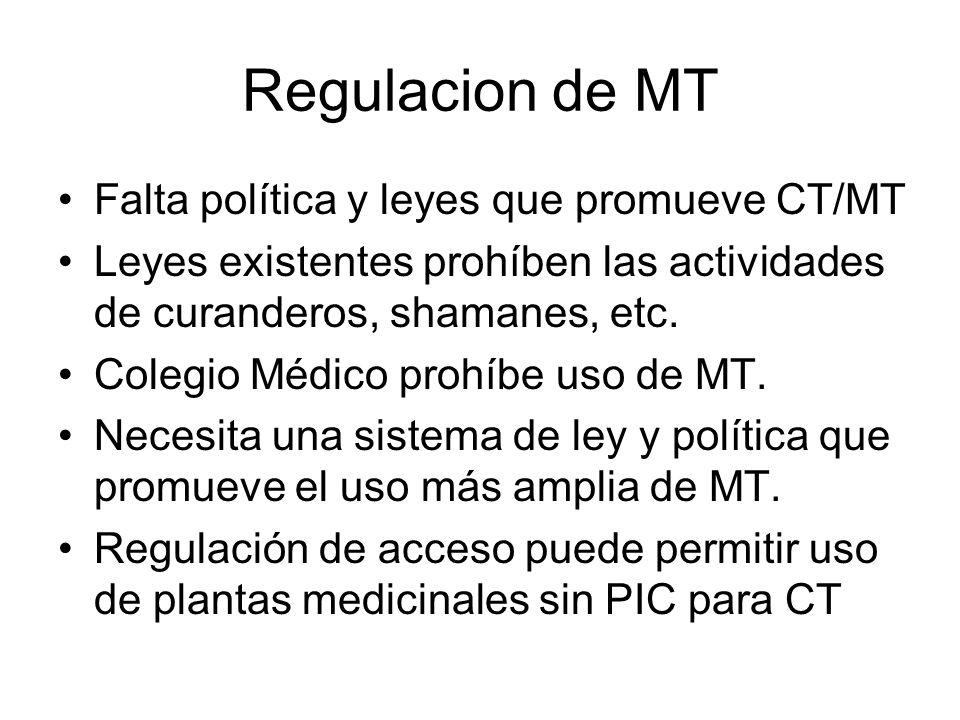 Regulacion de MT Falta política y leyes que promueve CT/MT