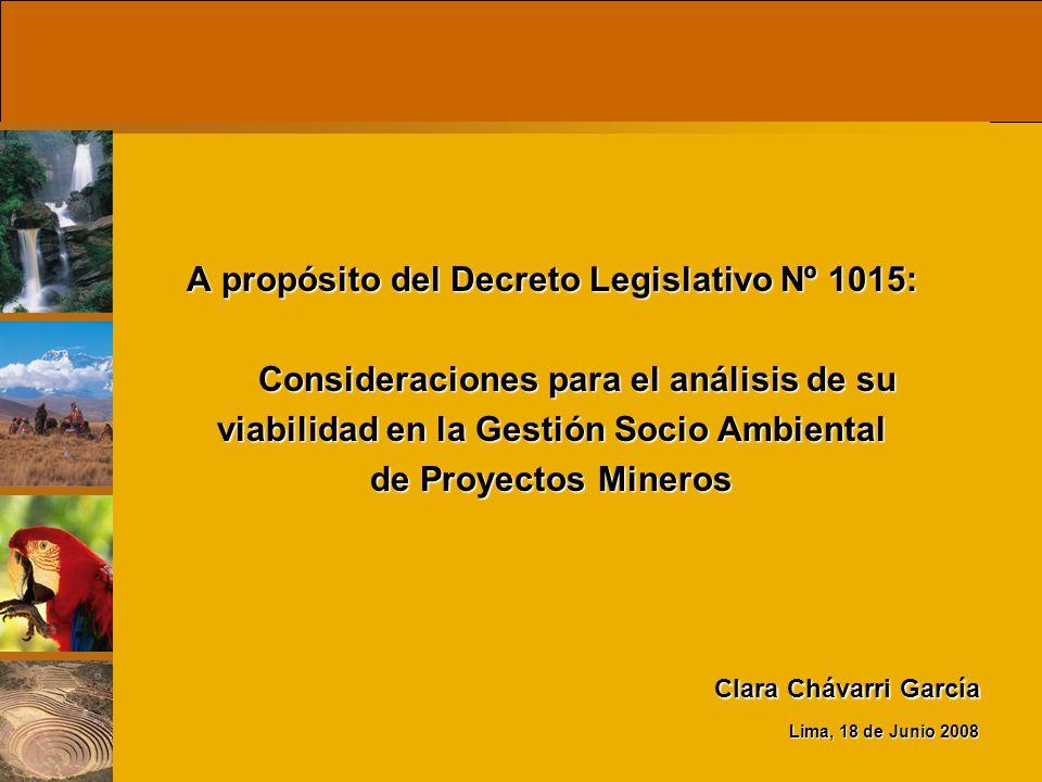 A propósito del Decreto Legislativo Nº 1015: