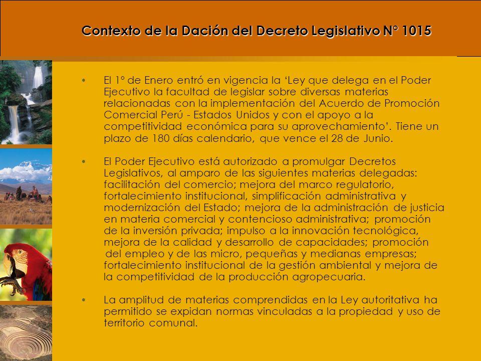 Contexto de la Dación del Decreto Legislativo N° 1015